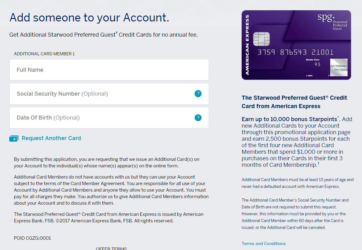 AMEX SPG Authorized User Offer