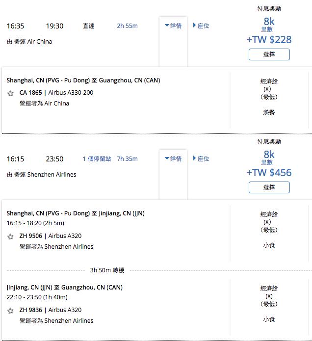 聯合航空 UA 中國國航 深圳航空 單程 8000
